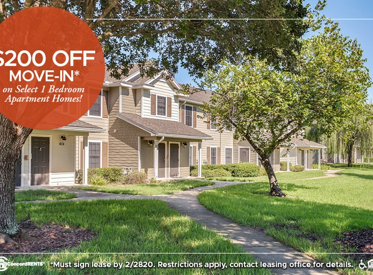 $200 off move in costs on select 1 bedroom apartment homes.   Must sign lease by 2/28