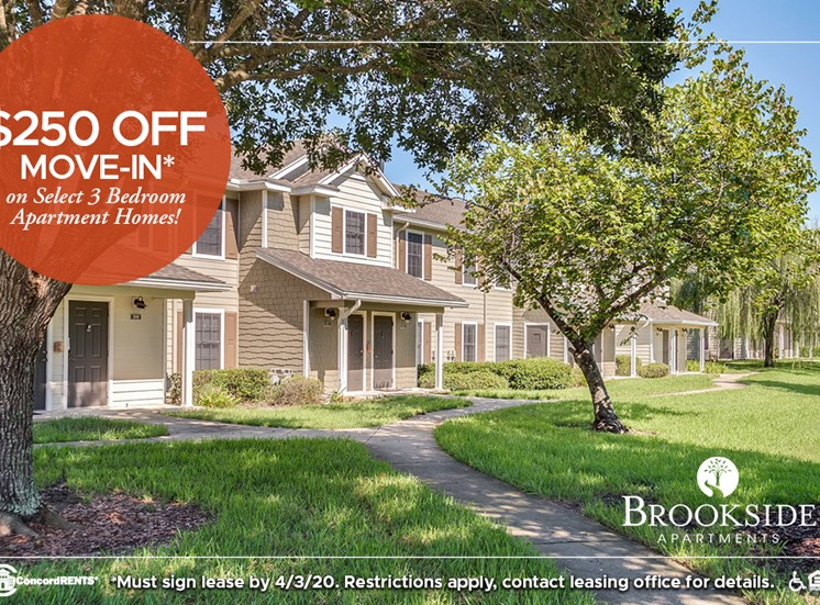 $250 off move in costs on select 3 bedroom apartment homes.   Must sign lease by 4/3
