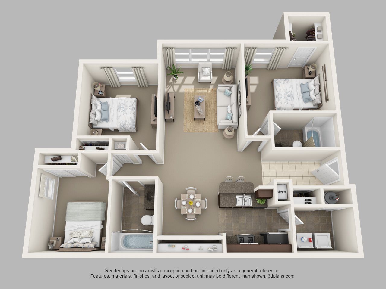 Three Bedroom Two Bath Floor Plan 2