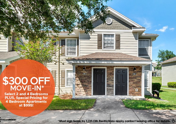 $300 off move in costs on select 2  and 4 bedroom apartment homes.  Must sign lease by 1/31 Special Pricing of $995 on 4 bedroom apartment Homes.