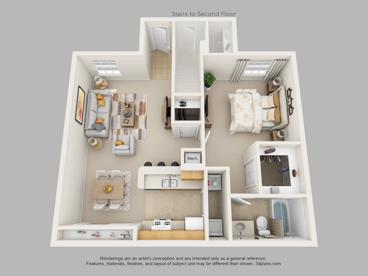 One Bedroom One Bath Floor Plan 1