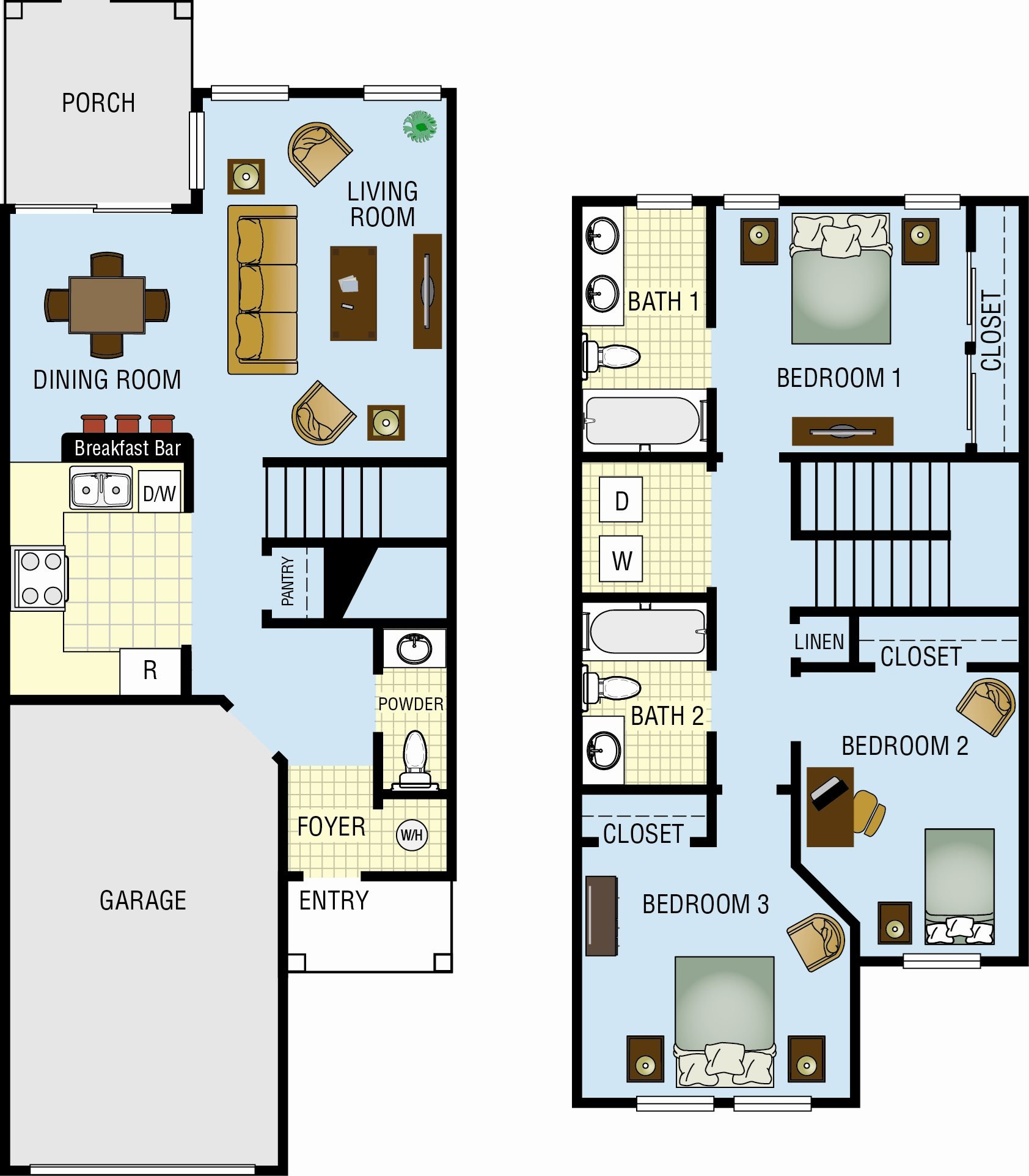 Three Bedroom Two & a Half Bath Floor Plan 1