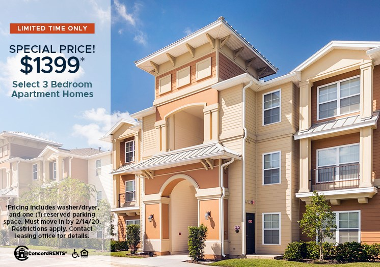 Special Pricing of $1399 for select 3 bedroom apartment homes  Including Washer/Dryer and One (1) Reserved Parking Space Must move in by 2/14/2020