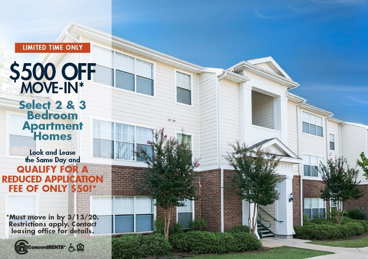 $500 off move in costs on select 2 & 3 bedroom apartment homes Must move in by 3/13 Look and Lease the same day and qualify for a reduced Application Fee of only $50.