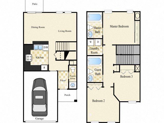 Three Bedroom Two and One Half Bath Floor Plan 2