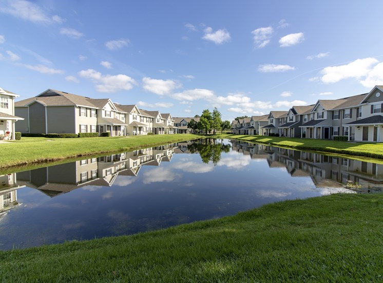 Waterford East Apartments for rent in Orlando, FL. Make this community your new home or visit other Concord Rents communities at ConcordRENTS.com. Lake and buildings exterior