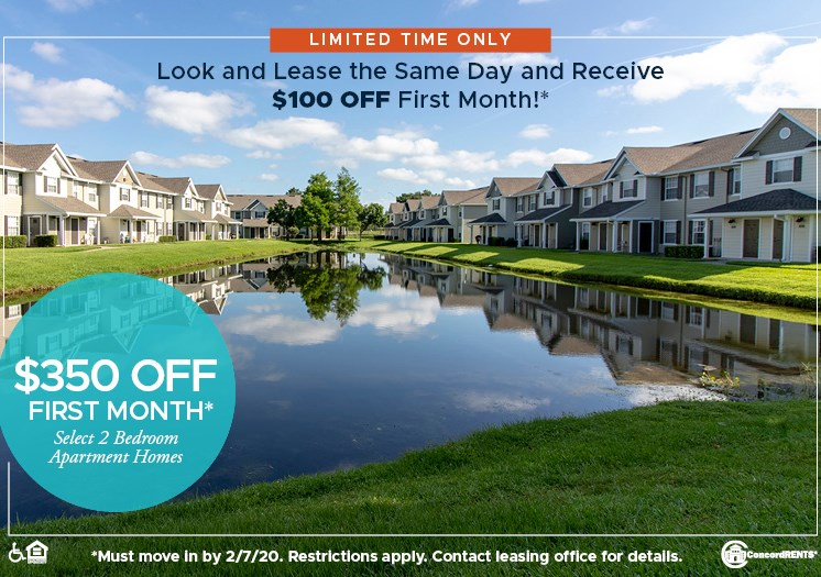 $350 off 1st month's rent on select 2 bedroom apartment homes.  Must move in by 2/7 Look & Lease Special- $100 off 1st months rent if apply same day as show