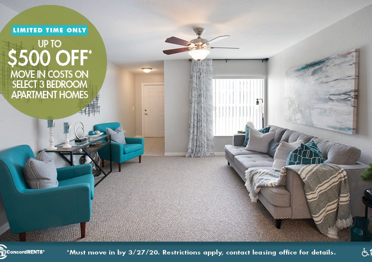 Up to $500 OFF Select 3 Bedroom Apartment Homes Must move in by 3/27