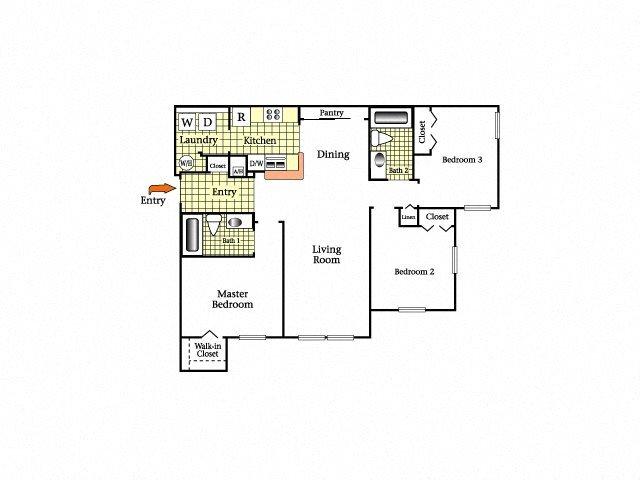 Three Bedroom Two Bath Floor Plan 4