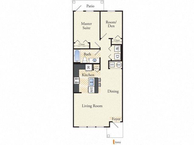Senior Cottage- Two Bedroom One Bath Floor Plan 1