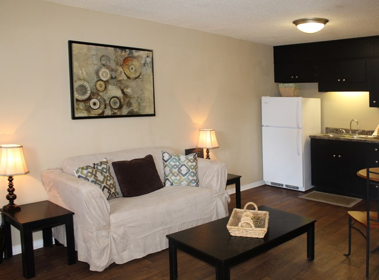 Tara Garden Apartments in Huntsville, Alabama newly renovated interiors with hardwood inspired flooring
