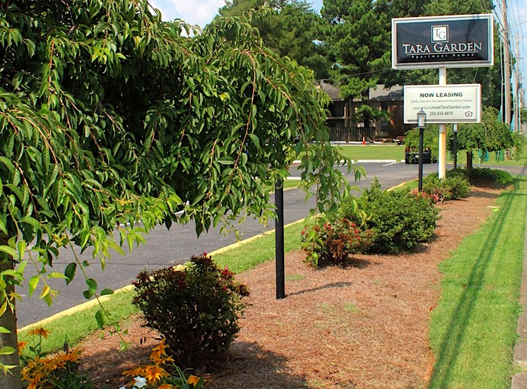 Tara Garden Apartments in Huntsville, Alabama signage with landscaping