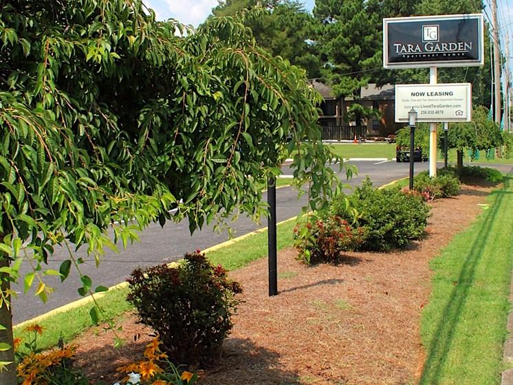 Tara Garden Apartments in Huntsville, Alabama signage with landscaping
