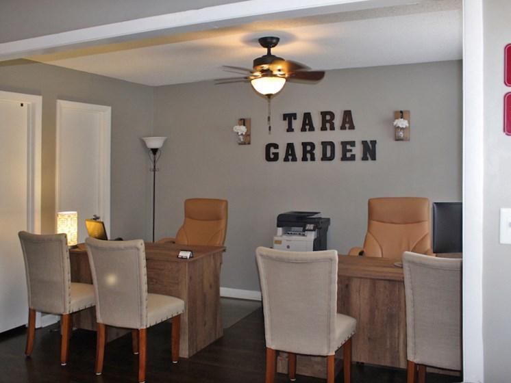 Tara Garden Apartments in Huntsville, Alabama leasing office interior