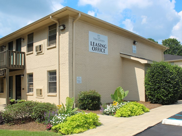 Tara Garden Apartments in Huntsville, Alabama newly renovated leasing office with fresh landscaping