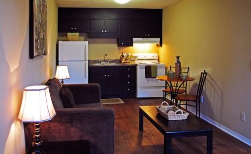 Tara Garden Apartments in Huntsville, AL 35806 living room kitchen combo studio