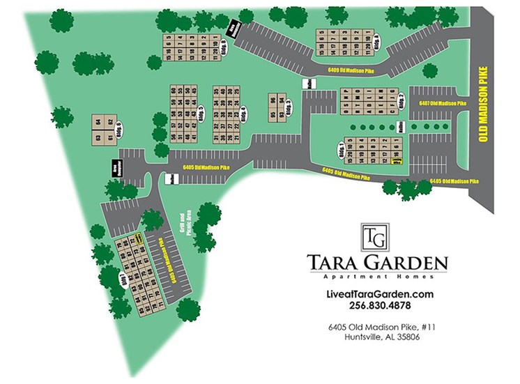 Tara Garden Apartments in Huntsville, AL 35806 site map of community