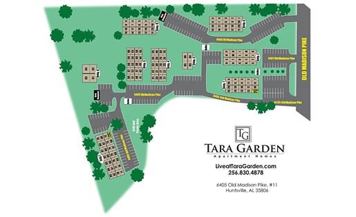 Tara Garden Apartments in Huntsville, AL 35806 site map of community