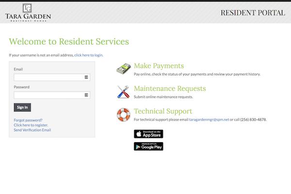 Tara Garden Apartments in Huntsville, AL 35806  online payment portal