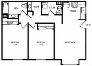 2 Bedrooms, 1 Bathroom (Bonus Vanity)