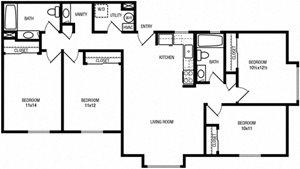 4 Bedrooms, 2 Bathrooms (Bonus Vanity)