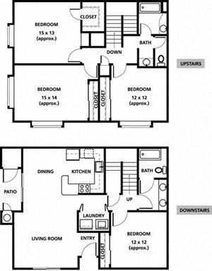 4 Bedrooms, 2 Bathrooms (Townhouse)