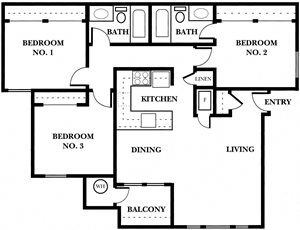 3 Bedroom, 2 Bath (Downstairs)