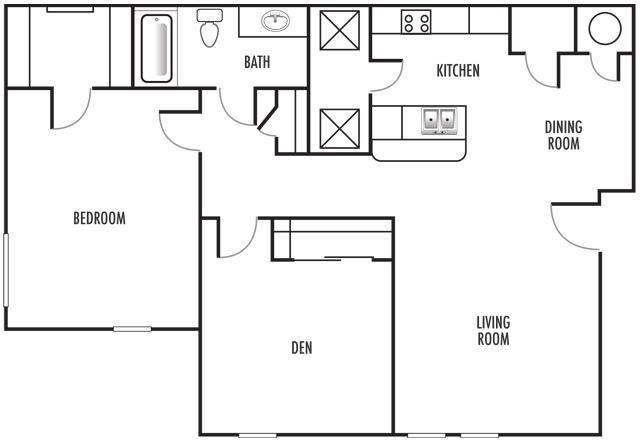 1x1 Den Floor Plan 2