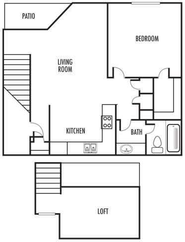 1x1 Loft Floor Plan 4