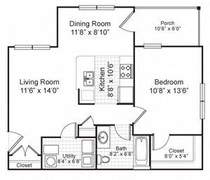 One Bedroom Garden Apartment
