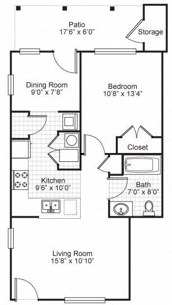 One Bedroom Terrace Apartment Floor Plan 2