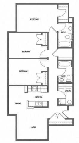 Three Bedroom Garden Apartment Floor Plan 5