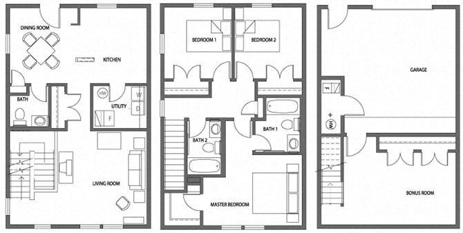 Three Bedroom Townhome Apartment Floor Plan 4