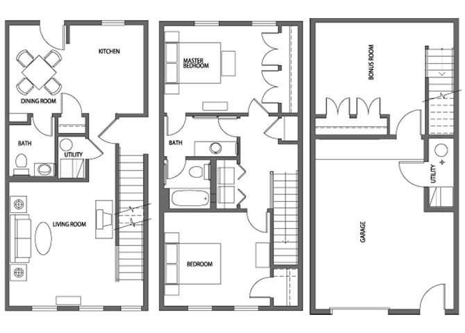 Two Bedroom Townhome Apartment Floor Plan 2
