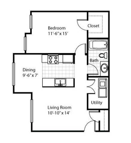 One Bedroom Garden Apartment. Madison Heights Floor Plans