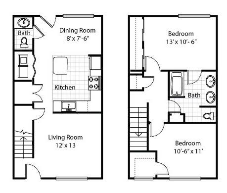 Two Bedroom Townhouse Apartment Floor Plan 2