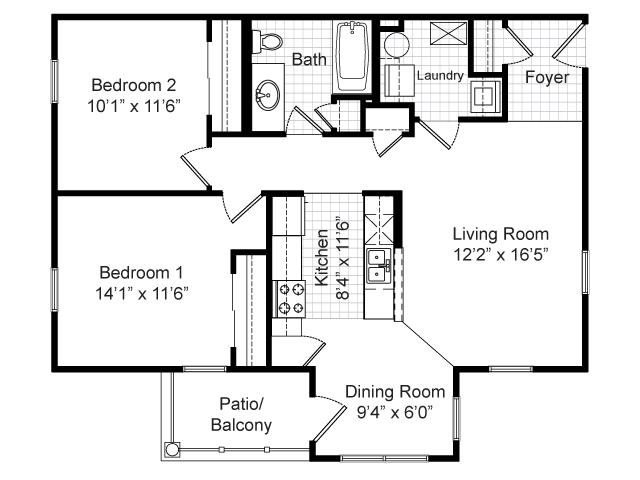 Two Bedroom Floor Plans House | Floor Plans Of Renaissance Place At Grand Apartments In St Louis Mo