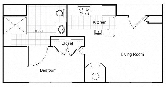 One Bedroom Apartment Floor Plan 1
