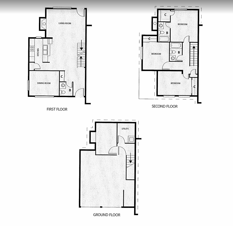 Three Bedroom, Two Bath Townhouse with Attached Garage Floor Plan 8