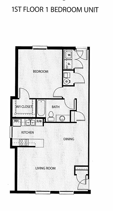One Bedroom, One Bath Floor Plan 10