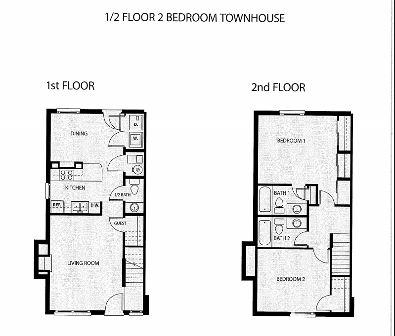 Two Bedroom, 2.5 Bath Townhouse Floor Plan 9
