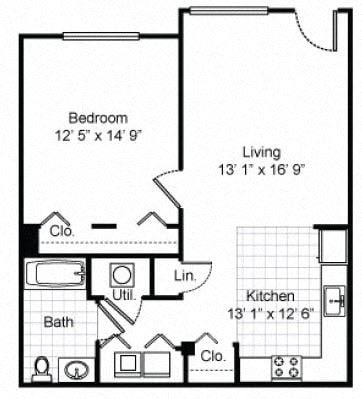 1 Bedroom 1 Bath Garden Apartment 2D Floorplan-Tremont Pointe Apartments, Cleveland, OH 44113