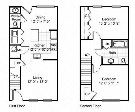 2 Bedroom 1 Bath Townhouse 2D Floorplan-Tremont Pointe Apartments, Cleveland, OH 44113
