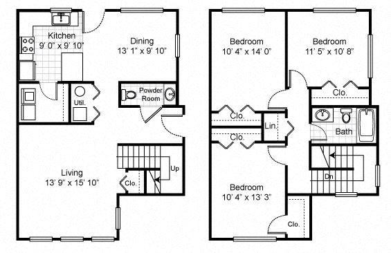 3 Bedroom 1 Bat Townhouse 2D Floorplan-Tremont Pointe Apartments, Cleveland, OH 44113