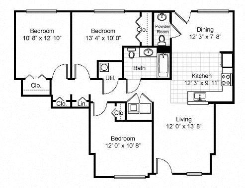 3 Bedroom 1 Bath Garden Apartment 2D Floorplan-Tremont Pointe Apartments, Cleveland, OH 44113