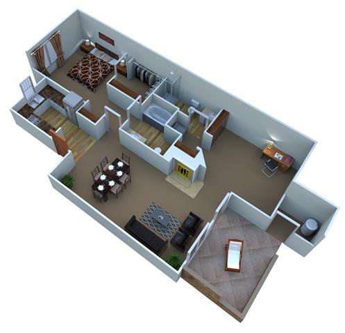 Plan A-1 Saguaro - Den Floor Plan 1