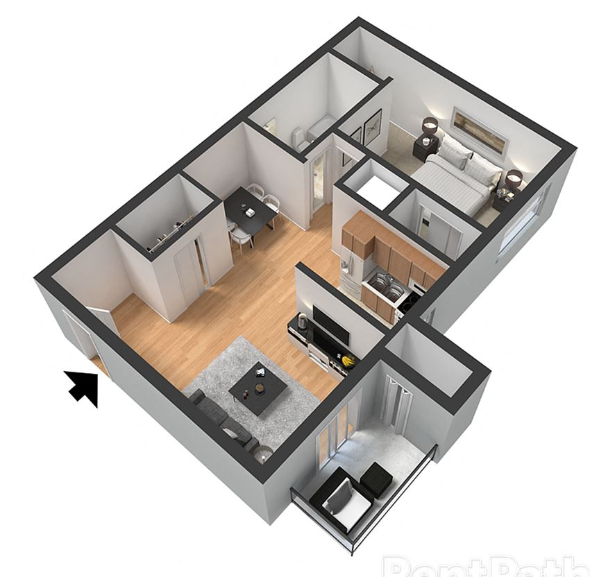 1 Bedroom 1 Bathroom Floor Plan at Arlington Park at Wildwood, Marietta