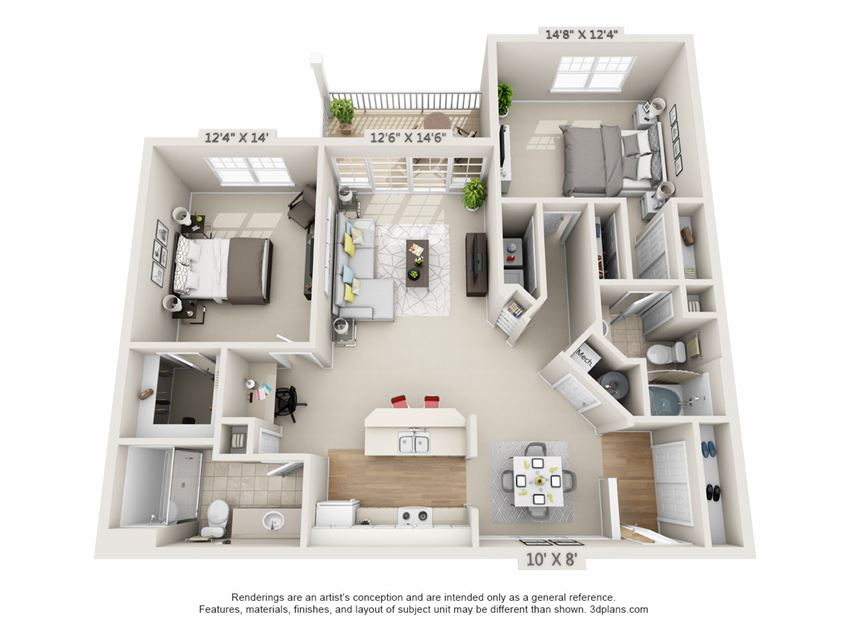 This is a 3D floor plan of a 1210 square foot 2 bedroom, 2 bath Atlantic at Nantucket Apartments in Loveland, OH.