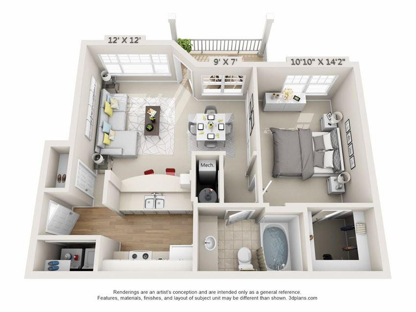 This is a 3D floor plan of a 758 square foot 1 bedroom, 1 bath Clipper at Nantucket Apartments in Loveland, OH.