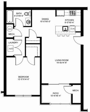 1 Bedroom 1 Bath Interior Unit